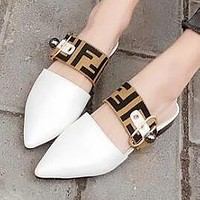 FENDI Trending Women Stylish F Letter Pointed Sandal Slipper Shoes White