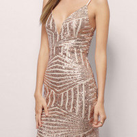 Gold Spaghetti Strap Backless Sequined Dress