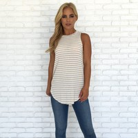 A La Mode Stripe Jersey Top