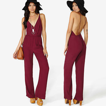 Red Wine Wrap Front Bow Lace Backless Jumpsuit