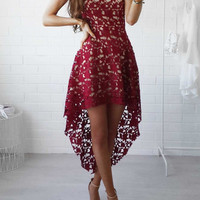 Casual Sunny Day Fashion Street Cute Lace Floral Dress