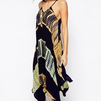 Kiss The Sky Tie Dye Midi Dress With Coin Necklace