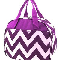 Chevron Print Insulated Canvas Lunch Tote Bag (Purple)