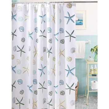 Meiosuns Shower Curtain Eco-Friendly Waterproof Bathroom Curtains Ocean Theme Semi Translucent Shower curtain Liners with Rustproof Grommets and Curtain Hooks (Starfish and Seashells, 48'' x 72'') Starfish and Seashells 48'' x 72''