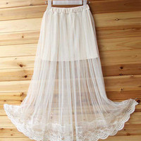 Solid Color Elastic Waist Sheer Maxi Skirt