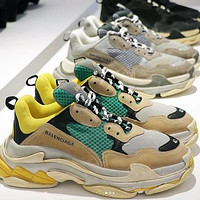 Balenciaga Triple S Daddy shoes men and women increased thick-soled anti-skid classic stitching breathable casual shoes