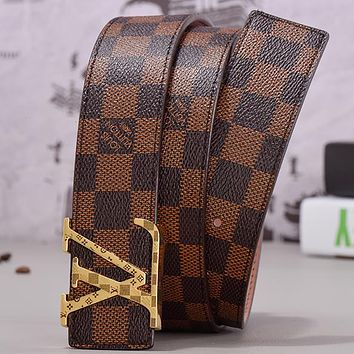LV Louis Vuitton Monogram smooth buckle belt Coffee