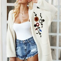 Belle Embroidery Floral Design Cardigan