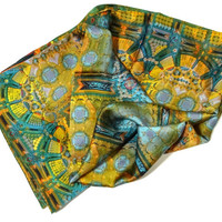 """36"""" Square Silk Satin Scarf, """"Architectonic I"""" Design, Blue and Gold  3D fractal, abstract scarves, Fashion scarves"""