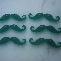 6 pieces Mustache charms Green color by GreekArt on Etsy