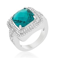 Candy Faceted Aqua Double Halo Cocktail Ring  | 9ct
