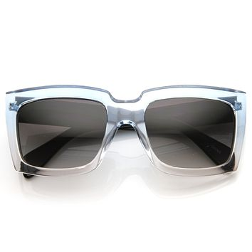 Retro Thick Square Translucent Two Tone Party Sunglasses 8686