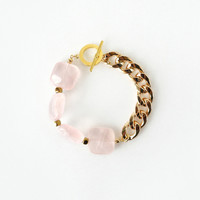 Rose Quartz Crystal Statement Bracelet, Light Pink and Gold Jewelry