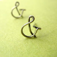Ampersand Typography Studs Oxidized Sterling Silver Post Earrings