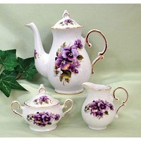 20 oz Teapot with Cream and Sugar Set Porcelain Pansy with Additional Pattern Choices