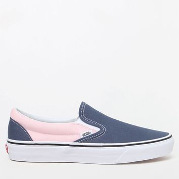 Vans Women's Classic Blue and Pink Slip-On Sneakers at PacSun.com