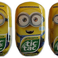Tic Tac Limited Edition Despicible Me Minion Bundle, Kevin, Bob and Stuart, 3.4 oz each