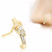 Gold Plated Jeweled Heart L Bend Half Nose Hoop