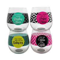 Circle Quote Set of 4 Stemless Wine Glasses