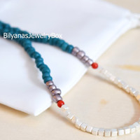 Silver Cube Necklace Turquoise And Red Jewelry Boho Necklace Turquoise Necklace Silver Necklace Cube Necklace Turquoise Beaded Necklace