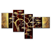Golden African Tree Canvas Wall Art Landscape Oil Painting