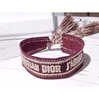 Dior new embroidery letters simple braided hand rope