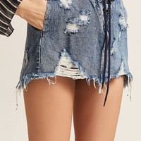 Distressed Lace-Up Denim Skirt