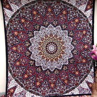 Psychedelic Red White Tapestry Mandala Hippie Bedspread Beach Throw Wall Decor Hanging Room Divider