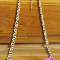 TRUST NO BITCH STATEMENT NECKLACE WOMEN JEWELRY GIFT PINK BLACK GOLD PLATE CHAIN