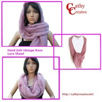 Hand Knit Vintage Rose Lace Shawl   Cathy Creates - Handmade knit and crochet accessories and apparel