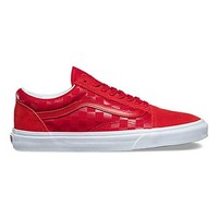 VANS Old Skool Mens Size 12 Tonal Check Racing Red Fashion Skateboarding Shoes