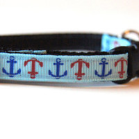 Blue Anchors Cat or Mini Dog Collar
