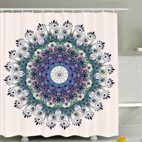 Peacock Feather Mandala Boho Fabric Shower Curtain