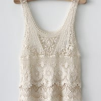 Southwestern White Crochet Lace Flower Pattern Tunic Blouse
