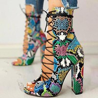 Summer cross strap green colorful snake pattern thick heel sandals multi-line cross corn eye buckle boots women's shoes