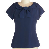 Myrtlewood Vintage Inspired Mid-length Short Sleeves It's Bow or Never Blouse