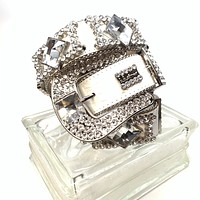 b.b. Simon White Monster Fully Loaded Swarovski Crystal Belt