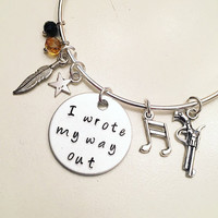 I Wrote My Way Out Alexander Hamilton the Musical Inspired Lyrics Hand Stamped Adjustable Bangle Charm Bracelet