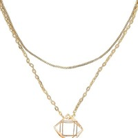 Lily Boutique Cute Gold Necklace, Double Chain Necklace, Gold Cage Necklace, Gold Multifaceted Necklace, Cute Gold Jewelry, Cute Gold Pendant, Gold Charm Necklace Lily Boutique