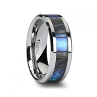 ZELO Tungsten Wedding Band with Mother of Pearl Inlay