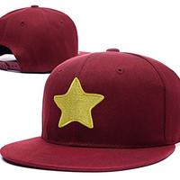 HAIHONG Steven Universe Yellow Star Logo Adjustable Snapback Caps Embroidery Hats - Red