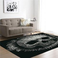 Black Skull Memory Foam Larger Carpet Area Rug