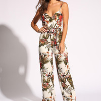 White Tropical Floral Low V Jumpsuit