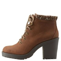 Tan Sweater-Cuffed Chunky Heel Combat Booties by Charlotte Russe