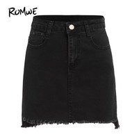 ROMWE Autumn Mini Skirts Casual Skirts For Women Plain Black Raw Hem With Pockets Above Knee Denim Bodycon Skirt