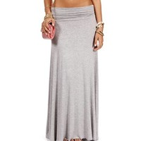 Heather Grey Ruched Waist Maxi Skirt