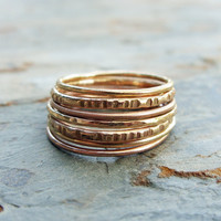 Autumn Colors 14k Yellow and Rose Gold Stacking Rings Set