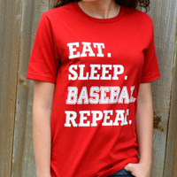 Eat. Sleep. Baseball. Repeat. Tee - Red