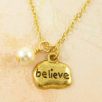 Believe Necklace Gold Plated with Cream White Pearl and 18 Inch Chain