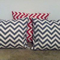 Grey and Cream chevron Pillow Cover and Insert 20 x 20 inches